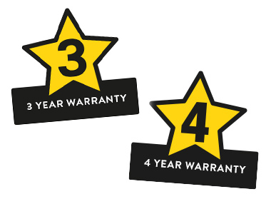 3 and 4 years warranty